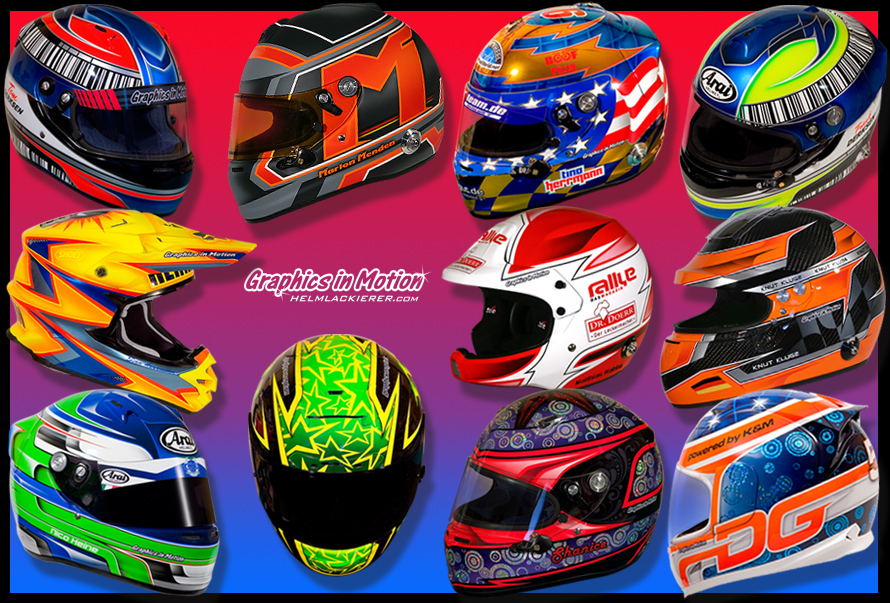 Helmdesigns auf Helmen von STILO, ARAI, SHOEI, ICON